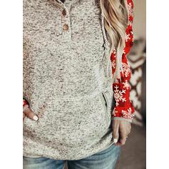 Print Pockets Long Sleeves Christmas Sweatshirt