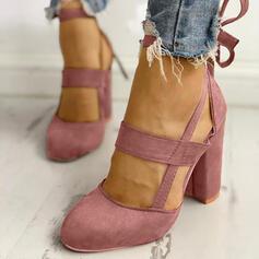 Bayanlar Süet Tıknaz Topuk Pompalar Kapalı Toe Ile Bağcıklı ayakkabı ayakkabı