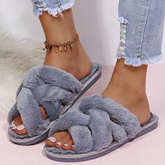 Mulheres Imitação de pele Sem salto Sandálias Chinelos com Pele Cor sólida sapatos