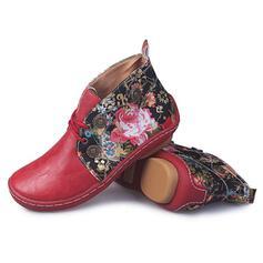 Frauen Kunstleder Flascher Absatz Stiefelette Round Toe mit Einfarbig Bestickt Schuhe