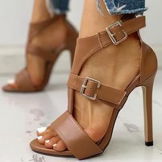 Dla kobiet PU Obcas Stiletto Sandały Otwarty Nosek Buta Z Klamra obuwie