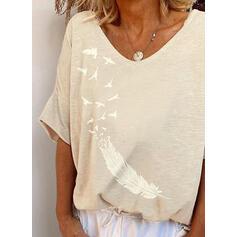 Print V-Neck 1/2 Sleeves T-shirts
