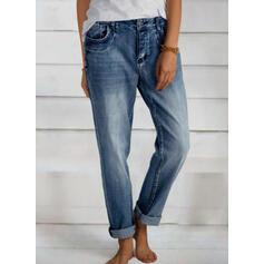 Shirred Elegant Plain Denim & Jeans