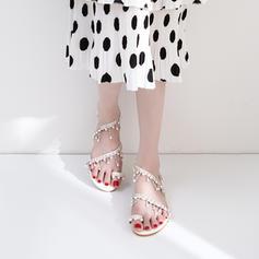 Kvinner Lær Flat Hæl Sandaler Flate sko Titte Tå Slingbacks Tåring med Imitert Perle Kjede sko