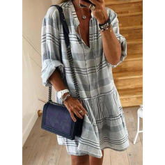 Print/Striped Long Sleeves Shift Knee Length Casual Dresses