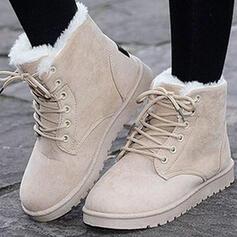 Pentru Femei Piele de Căprioară călcâi plat Botine Deget rotund Cizme de iarna Cizme de Iarnă cu Cataramă Lace-up pantofi