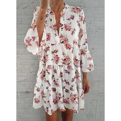 Print/Floral 3/4 Sleeves/Flare Sleeves Shift Above Knee Casual/Elegant Dresses