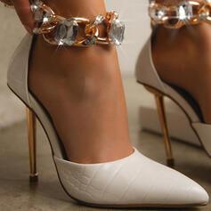 De mujer PU Tacón stilettos Salón Tacones con Rhinestone Cadena Color sólido zapatos