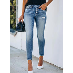 Shirred Plus Size Ripped Cropped Elegant Sexy Skinny Denim & Jeans
