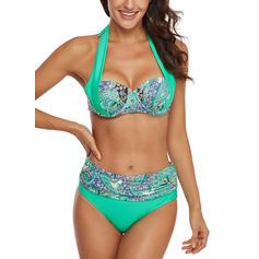 Blomstrete Halterneck Moteriktig Pluss størrelse Bikinier Badedrakter