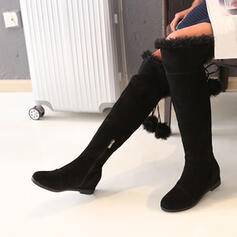 Women's Suede Flat Heel Knee High Boots Round Toe With Lace-up shoes