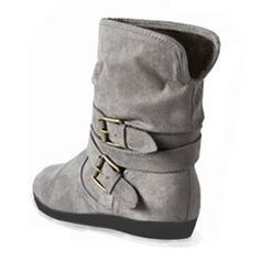 Mulheres Couro Sem salto Sem salto Botas Bota no tornozelo com Fivela sapatos
