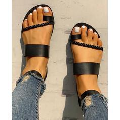 De mujer PU Tacón plano Sandalias Planos Encaje Pantuflas Anillo del dedo del pie con Hebilla zapatos