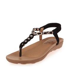 Kvinner Lær Kile Hæl Sandaler Titte Tå Slingbacks med Profilering Elastisk bånd sko