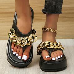 Bayanlar PU Düz topuk Sandalet platform Peep Toe Terlik Ile Zincir Katı Renk ayakkabı
