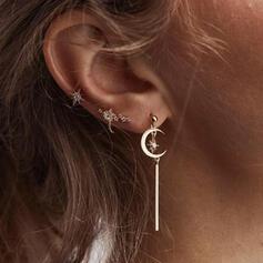 Exotic Boho Alloy With Tassels Moon Earrings (Set of 3)
