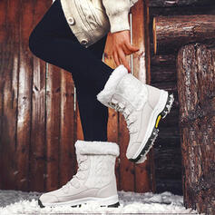 De mujer Tela Tacón plano Botas de nieve Encaje Botas de invierno con Cordones Color de empalme zapatos