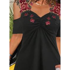 Цветочный кружевной Холодный прием 1/2 рукава Повседневная Блузы