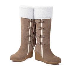 Kvinner PU Kile Hæl Mid Leggen Støvler Snø Støvler med Blondér sko