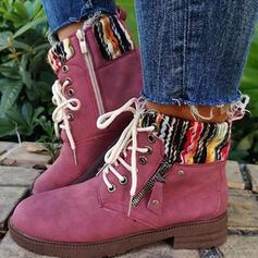 Női Szövet Chunky sarok Csizma Mid-Calf Csizma Kerek lábujj -Val Lace-up Splice szín cipő