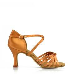 De mujer Danza latina Tacones Sandalias Satén Seda Danza latina
