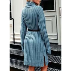Solid Klumpig stickning Polotröja Casual Lång Tröja klänning