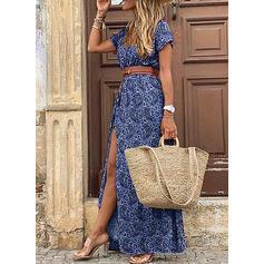 Print Short Sleeves A-line Casual Maxi Dresses
