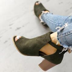 Dla kobiet Zamsz Obcas Slupek Botki Z Klamra obuwie