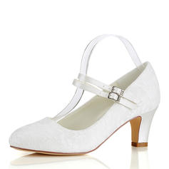 Women's Silk Like Satin Chunky Heel Closed Toe Pumps With Stitching Lace