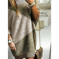 Color Block Round Neck Casual Long Sweater Dress