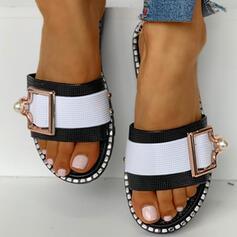 Mulheres PVC Sem salto Chinelos com Fivela sapatos