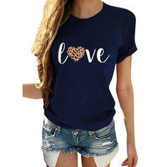 Estampado Coração Gola Redonda Manga Curta Casual Camisetas
