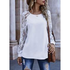 Lace Round Neck Long Sleeves Sweatshirt