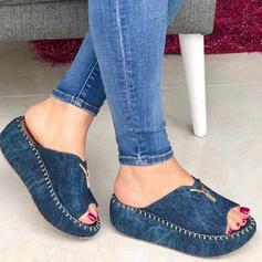 Dla kobiet Dżinsowa Obcas Koturnowy Sandały Platforma Koturny Otwarty Nosek Buta Kapcie Obcasy Z Zamek błyskawiczny Jednolity kolor obuwie