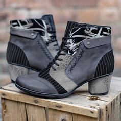 Mulheres PU Salto robusto Botas com Aplicação de renda Estampa floral sapatos