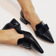 Женский PU Толстый каблук Острый нос с Bowknot обувь