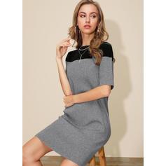 Färg block Round Neck Casual Tröja klänning