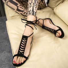 Pentru Femei Piele de Căprioară Fară Toc Sandale Balerini Puţin decupat în faţă Borsete cu Lace-up pantofi