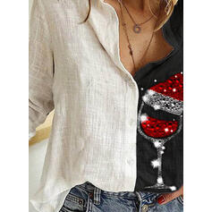 Print Sequins Lapel Long Sleeves Button Up Christmas Shirt Blouses