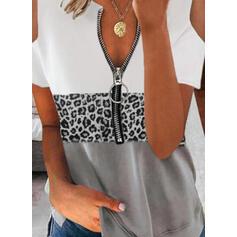Цветной блок леопард Холодный прием С коротким рукавом Повседневная Блузы
