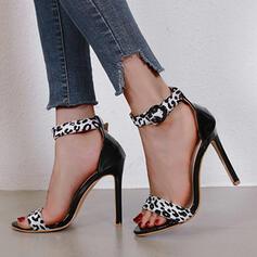 Сандалии Насосы Peep Toe Круглый носок с пряжка Рисунок животного Выдолбить обувь