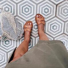Bayanlar PU Düz topuk Sandalet Terlik Ile Katı Renk ayakkabı