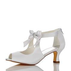 Women's Satin Silk Like Satin Chunky Heel Peep Toe With Satin Flower Zipper