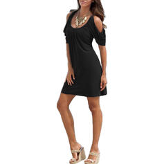 Solid Short Sleeves/Cold Shoulder Sleeve Sheath Above Knee Little Black/Casual Dresses