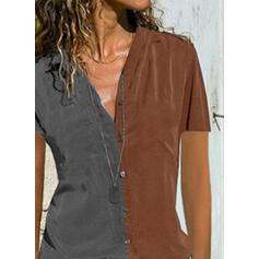 Цветной блок V шеи С коротким рукавом Кнопка вверх Повседневная Блузы