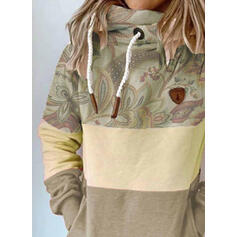 Print Color Block Pockets Long Sleeves Hoodie
