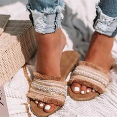 Women's Leatherette Flat Heel Sandals Flats Peep Toe Slippers With Tassel shoes