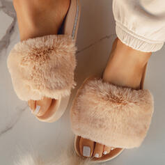 Сандалии Квартиры босоножки Домашние тапочки с Искусственный мех обувь