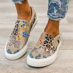 Kvinder Jean Flad Hæl Fladsko Lav top Round Toe espadrille med Animalske Udskriv patchwork Splejsefarve sko