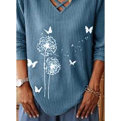 Animal Print Dandelion V-Neck Long Sleeves Casual Knit Blouses